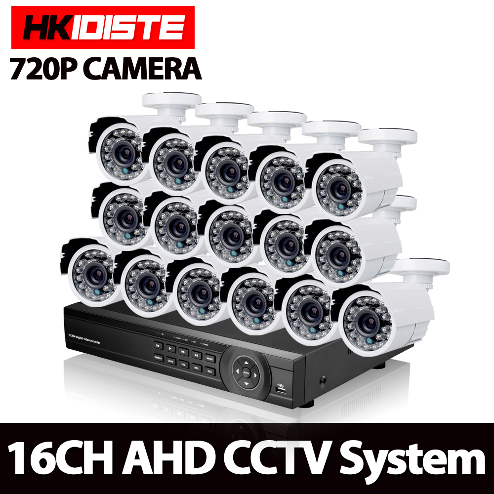 Home 16CH Video Surveillance CCTV System AHD 1080P 1080N DVR Kit with 16pcs White Bullet Outdoor 720P 1.0MP Security Camera Kit картленд б дар богов