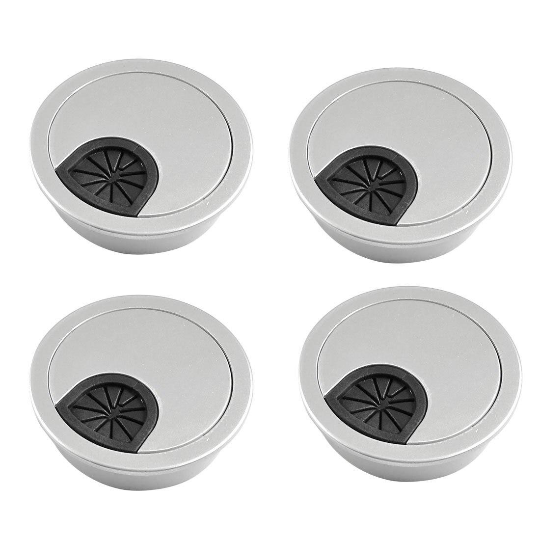 BSBL 4 Pcs Round Shape Silver Tone Plastic Desk Grommet Table Hole Cover