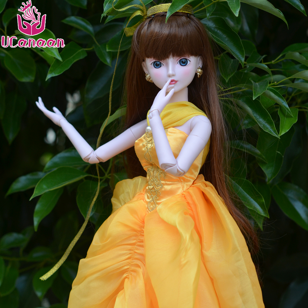 цены Ucanaan 1/3 Large BJD/SD Doll Beauty Beast Princess Make Up Dress Wig Fashion Trend BJD Doll For Christmas Gift Toys