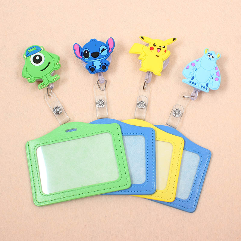 Cute Lilo Stitch Mike Silicone Badge Scroll Nurse Office Reel Character Scalable Student Exhibition Business Card Badge Holder