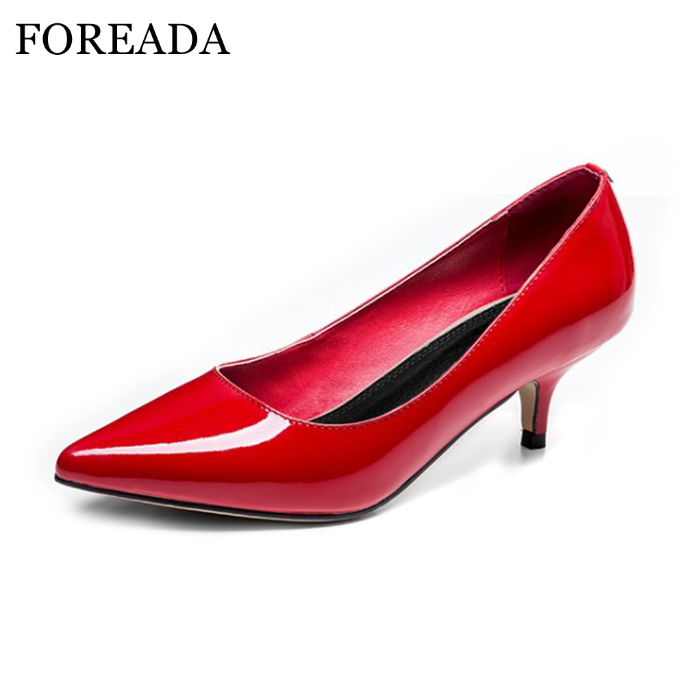 FOREADA Women Shoes Genuine Leather High Heel Pumps Pointed Toe Slip On Shoe Ladies Office Pumps Autumn Nude Plus Size 43 44