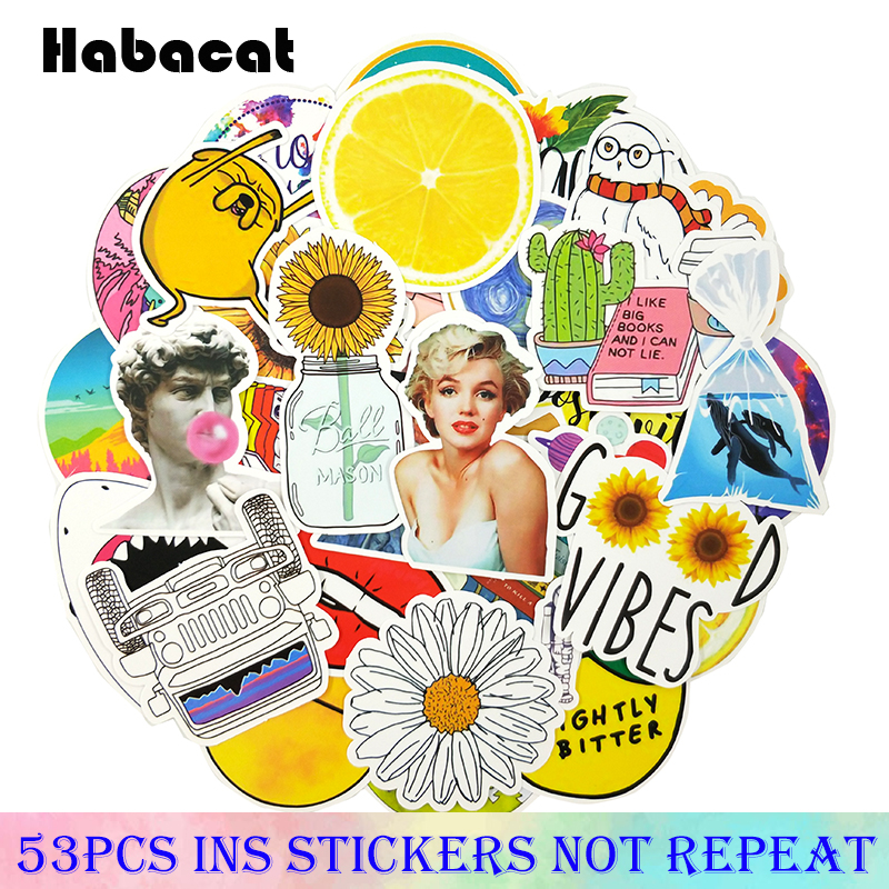 53Pcs/Pack Instagram Style Pink Graffiti Stickers For Luggage Skateboard Laptop Notebook Motorcycle Toy Pegatinas For Girl