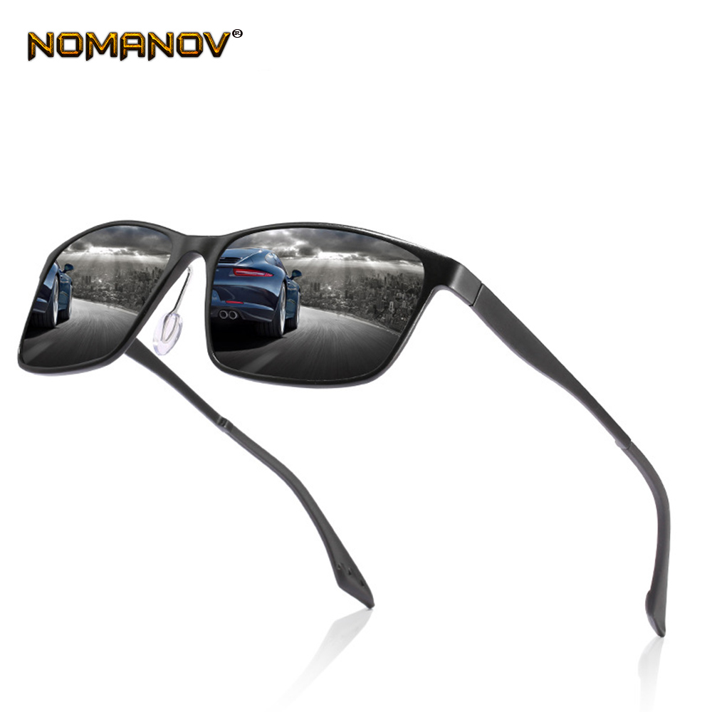 Al-mg Rectangular Black Brown  Sun Glasses Polarized Sunglasses Custom Made Myopia Minus Prescription Polarized Lens -1 to -6