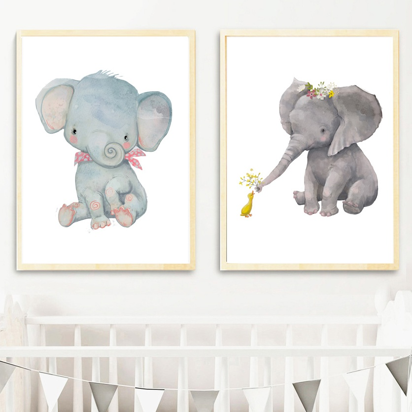 Cartoon Baby Elephant Animals Nordic