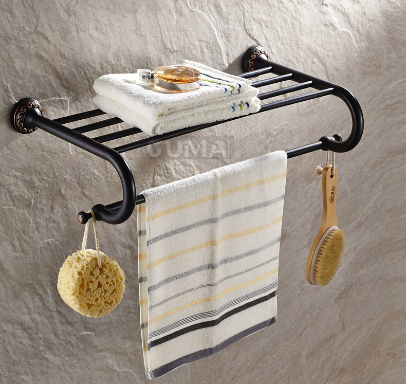 Art Carved Wall Mount Bathroom Towel Shelf Holder Oil Rubbed Bronze Towel Rack In Towel Racks