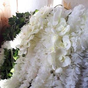 Image 4 - Artificial de seda branco orquídea flores borboleta alta qualidade traça phalaenopsis falso flor para casamento decoração do festival casa