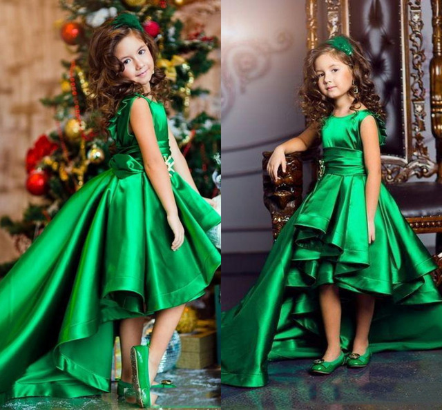 Emerald Green S Pageant Dresses High Low Tiered Princess Flower For Weddings Lovely Kids