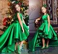 Esmeralda Verde Girls Pageant Vestidos Alto Bajo Gradas Pricess Muchachas de Flor Vestidos Para Bodas Niños Encantadores 2017 Comunión Vestido