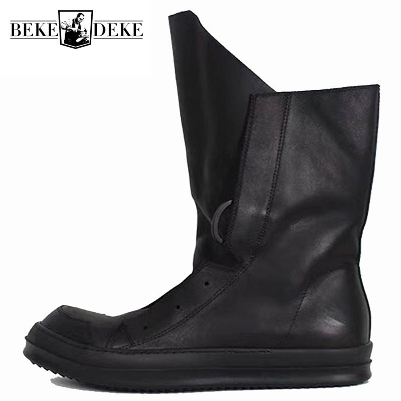 Men Casual Platform Shoes High-TOP Handmade Classic Boots New Gothic Luxury Trainers Genuine Leather Lace-up Zip Flats Sneakers