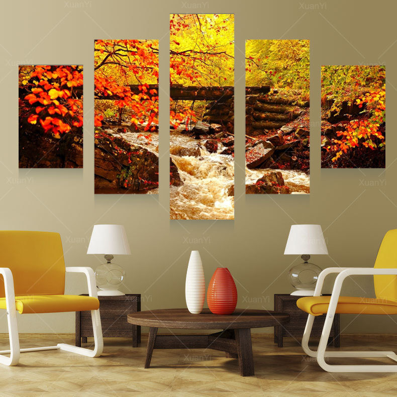 Buy 5 panel autumn landscape canvas art prints oil painting home art wall for Landscape paintings for living room