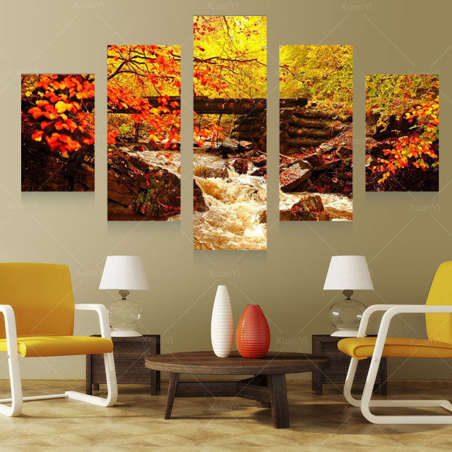 Aliexpress.com : Buy 5 Panel Autumn Landscape Canvas Art Prints ...