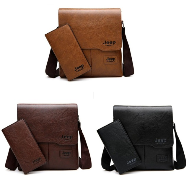 JEEP BULUO Man Messenger Bag 2 Set Men Pu Leather Shoulder Bags Business Crossbody Casual Bag Famous Brand ZH1505/8068 2