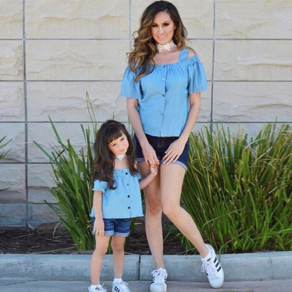 Puseky Matching Mother Daughter Clothes Set Sweet Family Mom Girl 2pcs Outfits Mommy Me Summer Off Shoulder Tshirt Denim Short In