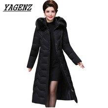 Büyük boy Orta Yaşlı Kadınlar Parkas Kış Ceket İnce Sıcak Kalın Pamuklu Uzun Ceket Rüzgar Geçirmez Kadın Kürk yaka Kapşonlu Palto 5XL