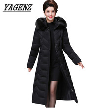 Big size Middle aged Women Parkas Winter Jacket Slim Warm Thick Cotton Long Coat Windproof Female Fur collar Hooded Overcoat 5XL