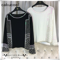 Cakucool Women Spring Long Sleeve Blouses Pearl Beading Chiffon Blusas O Neck Sequined Loose Elegant Bling