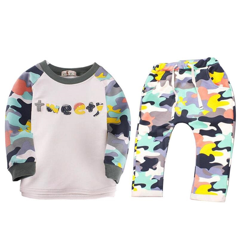 0-24M Spring Autumn Baby Clothing sets Kids Camouflage set Baby Boys Long Sleeve Clothes T-shirt Tops + Pants Outfit Set