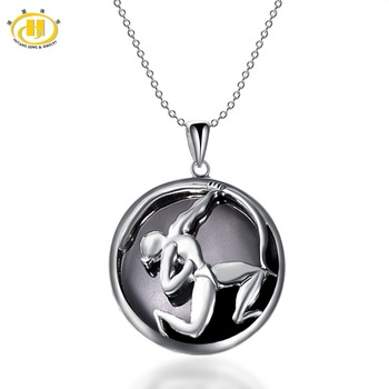 Hutang Sagittarius Zodiac Pendant Natural Black Jade 23mm Solid 925 Sterling Silver Necklace Women's Men's Fine Jewelry