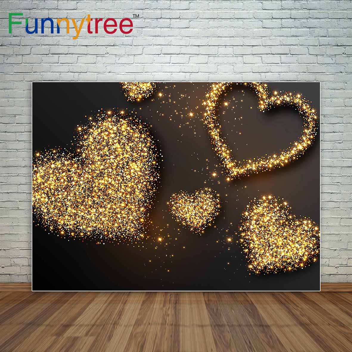 Golden shiny hearts brown background little dots photography backdrops photocall decor for a photo shoot
