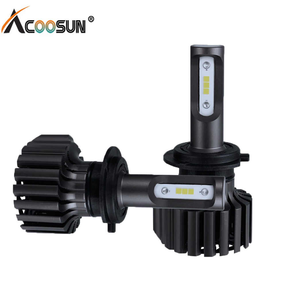 AcooSun H4 H7 Led Car Light H11 9005 9006 H15 Auto LED Headlight Bulbs 72W 8000LM COB Chips Headlamp Front Lights 6500K 12V 24V