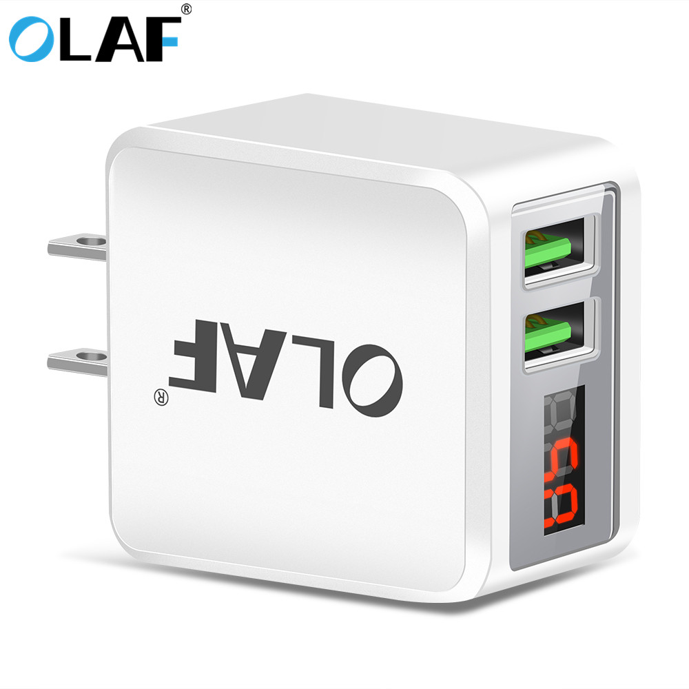 Olaf USB Charger LED Display US Plug Dual USB 2.1A Fast Phone Charger Adapter Wall Travel Charger for iPhone Samsung Tablets