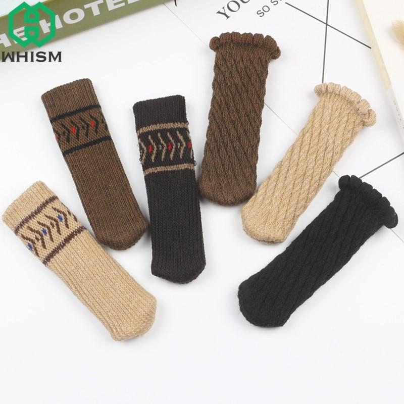 WHISM 4pcs Double Layers Chair Leg Covers Knitting Floor Protectors Furniture Leg Cap Door Knob Handle Dining Table Leg Socks