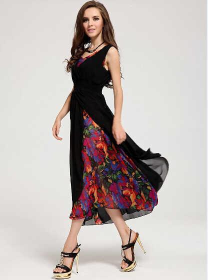 Платье рокабилли с v-образным вырезом, женские комплекты из двух предметов, с разрезом по бокам, vestido, цветочный принт, винтажная богемная официальная Летняя женская одежда с стиле бохо