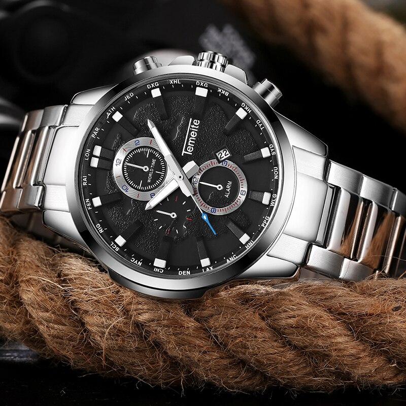 TEMEITE 2018 Fashion Business Watches Men Top Brand Luxury Quartz Male Wristwatches Stainless Steel Strap Calendar Clock
