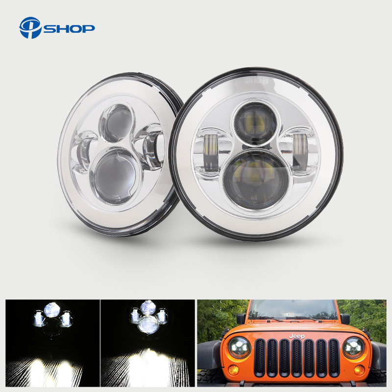 For Lada 4x4 urban Niva Headlight 7 Round Headlight With Angel Eyes For Jeep Wrangler Hummer Land rover defender Lamp