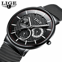 LIGE Mens Watches Top Brand Luxury Quartz Business Watch Men Steel Strap Casual Date Waterproof Sports