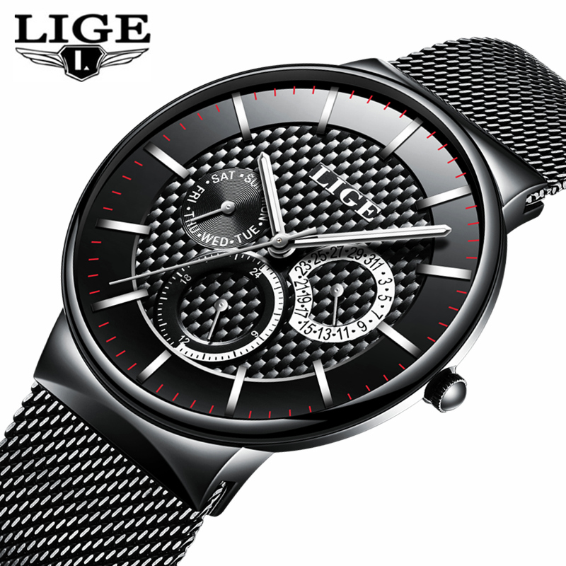 LIGE Mens Watches Top Brand Luxury Quartz Business Watch Men Steel Strap Casual Date Waterproof Sports Watches Relogio Masculino a500g mens watches top brand luxury tvg brand men business casual watch stainless steel strap quartz watch fashion sports watche