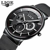 LIGE Mens Watches Top Brand Luxury Quartz Business Watch Men Steel Strap Casual Date Waterproof Sports