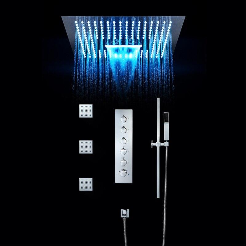 Роскошный душ для ванной кран Набор 16 дюймов дождя светодиодный свет встроенный, потолочный термостатический клапан водопад Showerhead туманны...