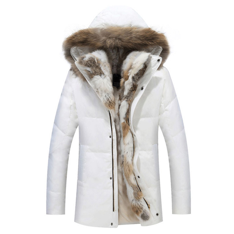 Woman winter Padded Warm Coat White Duck Down Jacket Long Female Real Fur Collar Hooded Overcoat