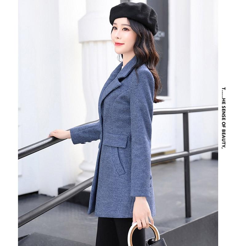 Femme De Coréenne Ky360 Blue Tops 2018 Automne Mode pink Laine Long Femmes Manches Manteaux yellow Nouveau camel Hiver Longues green 6640zx