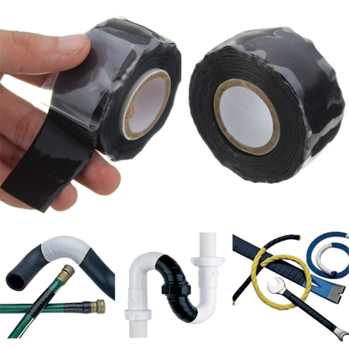 Black Rubber Silicone Repair Waterproof Seal Repair Tape Rescue Self Fusing Wire