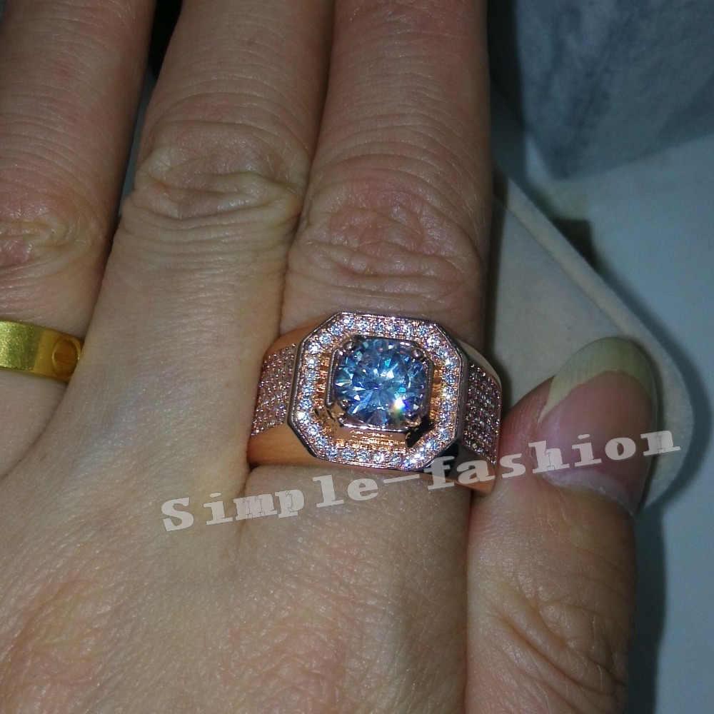 แฟชั่นเครื่องประดับ Solitaire man แหวน 3Ct Cz 5A Zircon Rose Gold เงิน 925 แหวนสำหรับ man