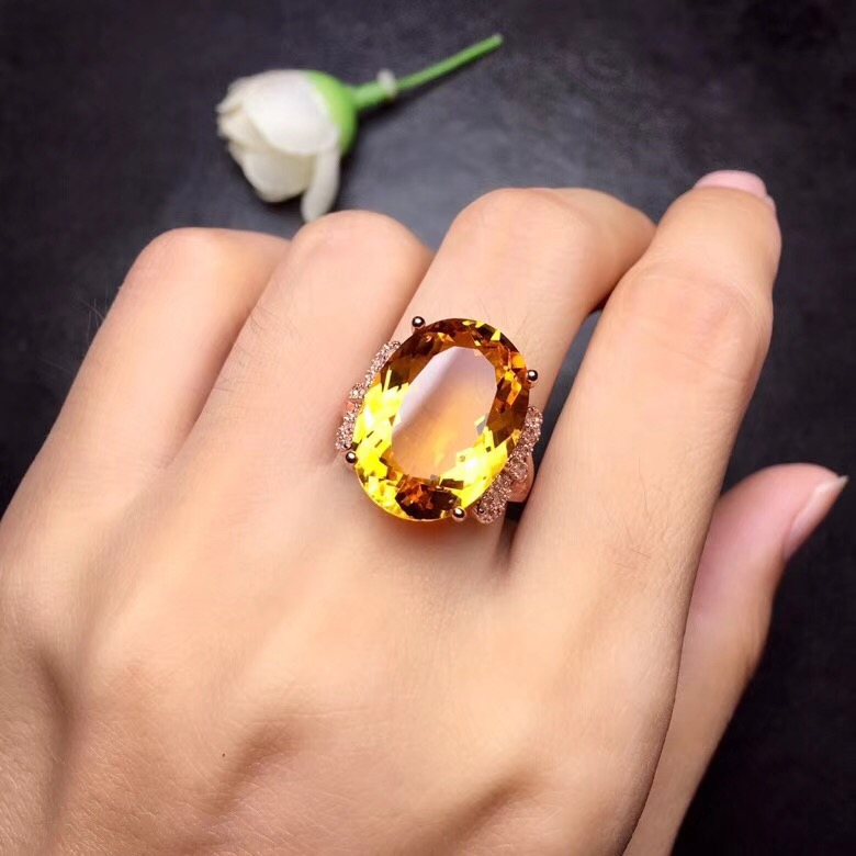HTB1RuTra5nrK1Rjy1Xcq6yeDVXai - Citrine Ring for Women, 925 Sterling Silver Wedding Jewelry