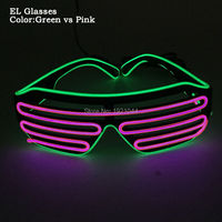 New Arrilal Multicolor Flashing Sound Activated EL Wire Glasses LED Neon Glowing Shutter Shaped Glasses For