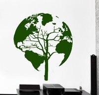 Hot Koop Kwaliteit Muursticker Boom Natuur Wereldkaart Cool Decor Voor Woonkamer Vinyl Muurstickers KW-177