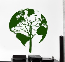 Hot Sale Quality Wall Sticker Tree Nature World Map Cool Decor For Living Room Vinyl Decals KW-177
