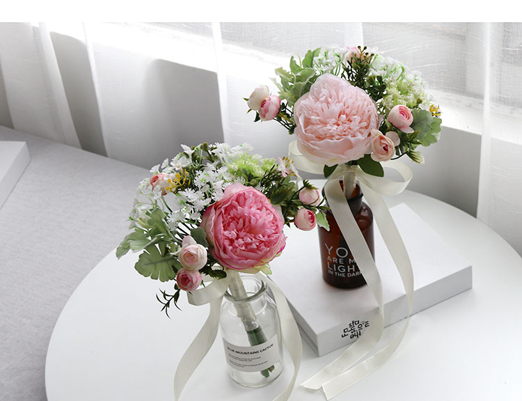 Wedding Bouquet for bridesmaids flowers artificial rose peony (19)