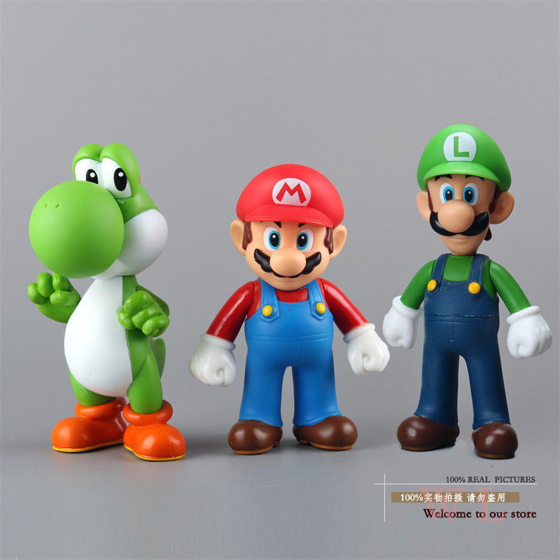 Super Mario Bros Mario Yoshi Luigi PVC Action Figures Collection Model Toys Dolls 3pcs/set