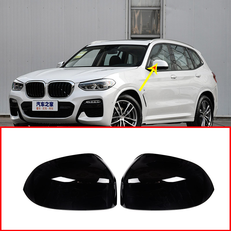 2pcs Glossy Black Exterior Side Rearview Mirror Cap Cover Trim For BMW X3 X4 G01 G02 2018 2019 Car Accessories-in Chromium Styling from Automobiles & Motorcycles    1