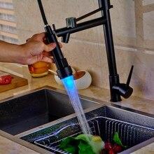 Роскошные Палуба Весны Крепление Масло Втирают Бронзовый Одной Ручкой Отверстие Кухонный Кран