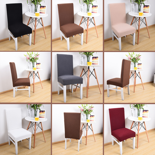 dining chair fabric seat covers ergonomic design guidelines 1pc brief elastic thick knitted for office chairs cover housse de chaise universal size