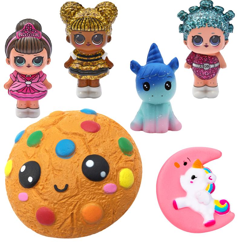 Kawaii Biscuits Squishies Jumbo Squeeze Squishy Adorable Unicorn Slow Rising Squeeze Scented AntiStress Relief Toy For Children