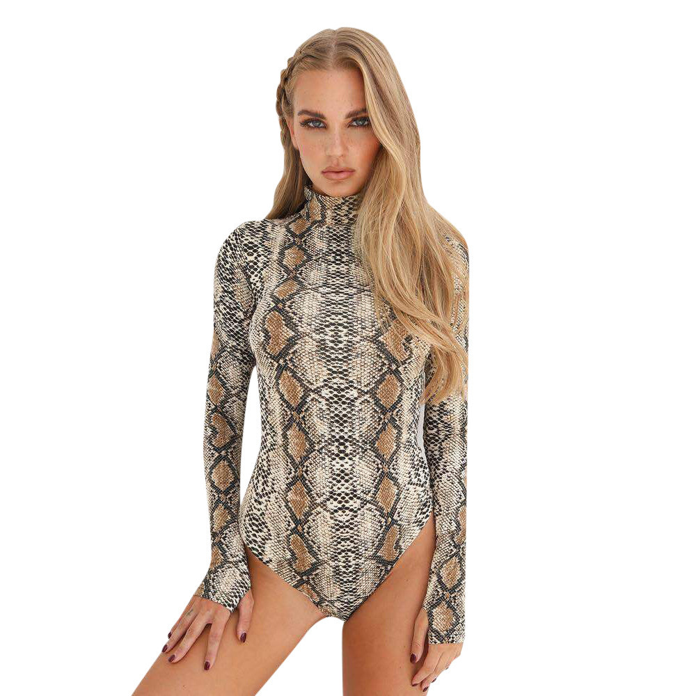 de20b63b16a739 Detail Feedback Questions about 2018 Snake Skin Turtle Neck Long Sleeve  Bodysuit Sexy Bodycon Fashion Romper Women Jumpsuit Overall Combinaison  Dropship on ...