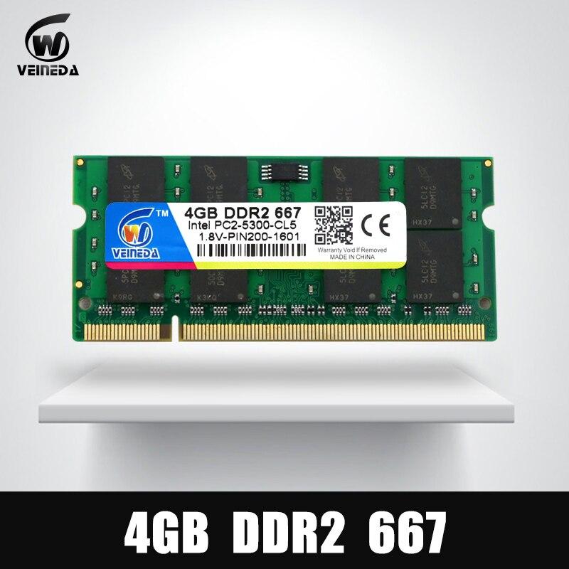 Новый оперативной памяти DDR2 4 Гб 667 МГц для ноутбука поддержка Мобо память DDR 2 PC2-5300 емкостью слота SODIMM оперативной памяти