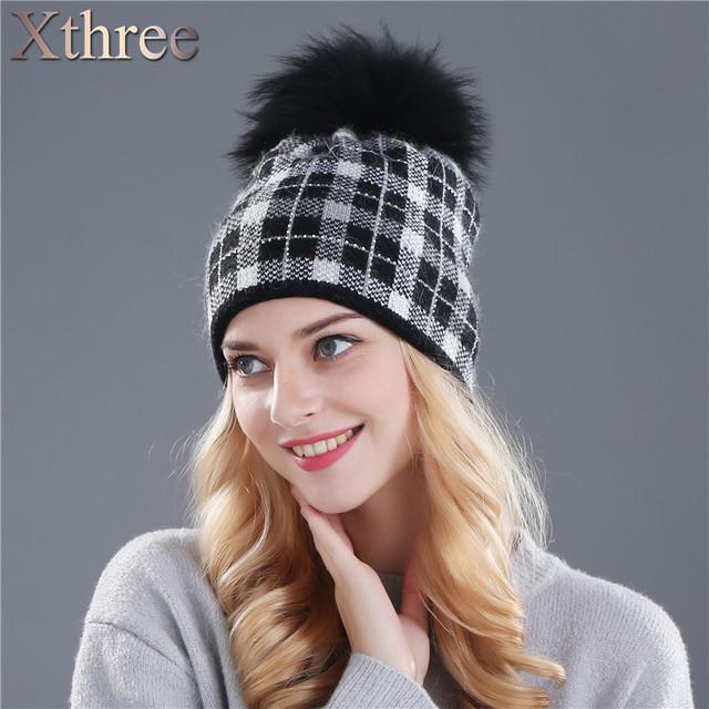 Xthree real mink malha chapéu de lã chapéu de pele de coelho para as mulheres meninas chapéu do inverno gorros Skullies chapéu vermelho